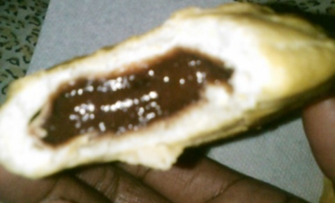 Inside chocolate filled biscuit
