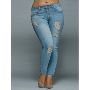 DL Plus Skinny Ripped Jeans